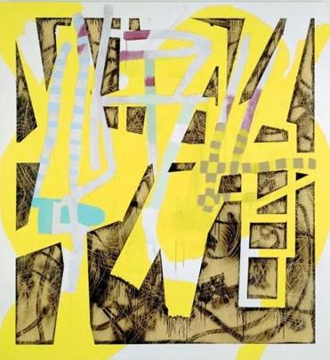 ''Lazybone Shuffle'' has zigzags of yellow overlaying a gritty, industrial-looking field of curling scratch-and-scrawl browns.